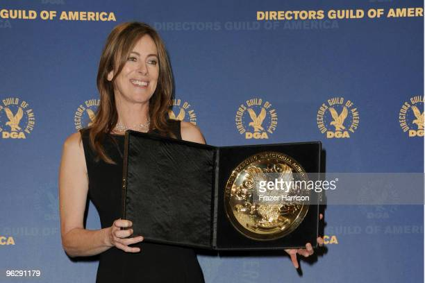 Director Kathryn Bigelow poses with her Feature Film Award for The Hurt Locker in the press room during the 62nd Annual Directors Guild Of America...