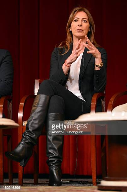Director Kathryn Bigelow speaks onstage at the 65th Annual Directors Guild of America Awards Feature Film Symposium held at the DGA on February 2...