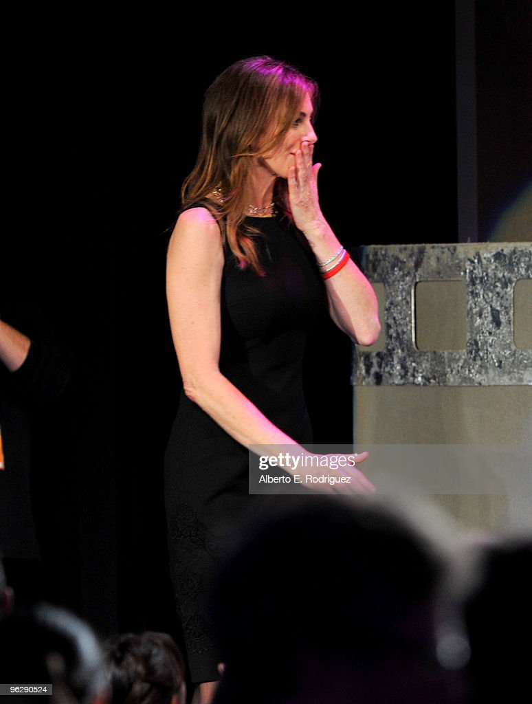 Director Kathryn Bigelow walks onstage to accept the Feature Film DGA Award for 'The Hurt Locker' onstage during the 62nd Annual Directors Guild Of America Awards at the Hyatt Regency Century Plaza on January 30, 2010 in Century City, California.