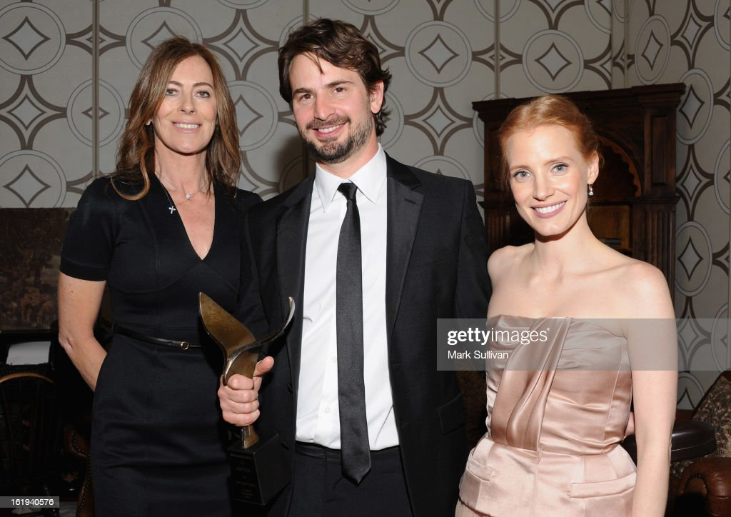 Director Kathryn Bigelow, writer Mark Boal and actress Jessica Chastain in the 2013 Writers Guild Awards Backstage Creations Celebrity Retreat on February 17, 2013 in Los Angeles, California.