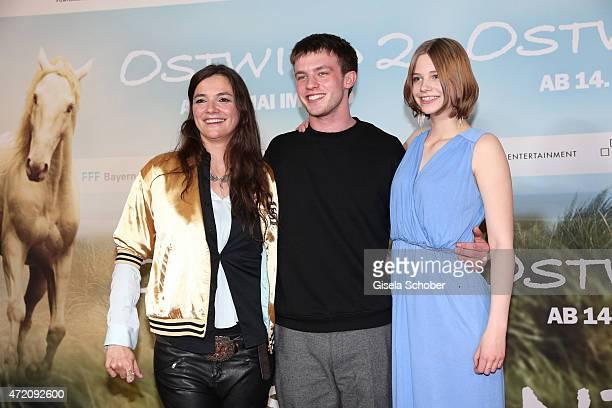 Director Katja von Garnier Jannis Niewoehner and Hanna Binke during the German premiere of the film 'Ostwind 2' on May 3 2015 in Munich Germany