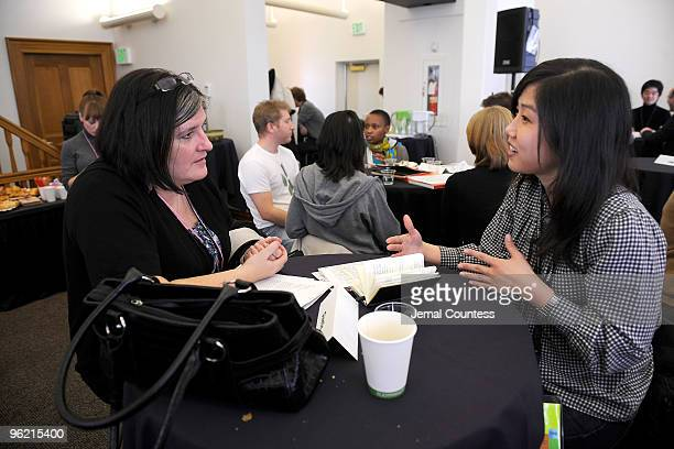 Director Katrina Kissa and Christine Kim of Cinetic attend the Sundance Industry meeting during the 2010 Sundance Film Festival at Miner's Hospital...