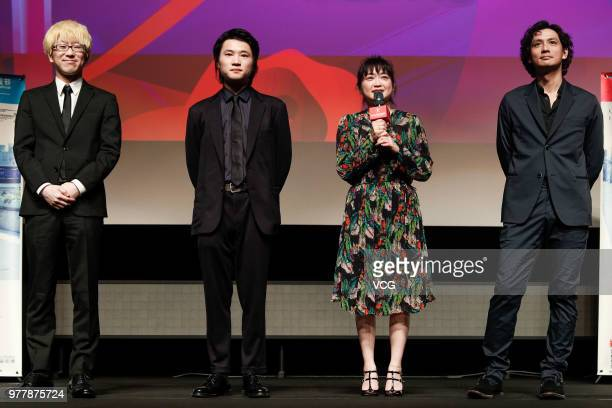 Director Kazutoshi Inudo actor Hiroto Kanei actress Ikewaki Chizuru and actor Masanobu Ando attend a meeting of film 'Lenses on Her Heart' during the...