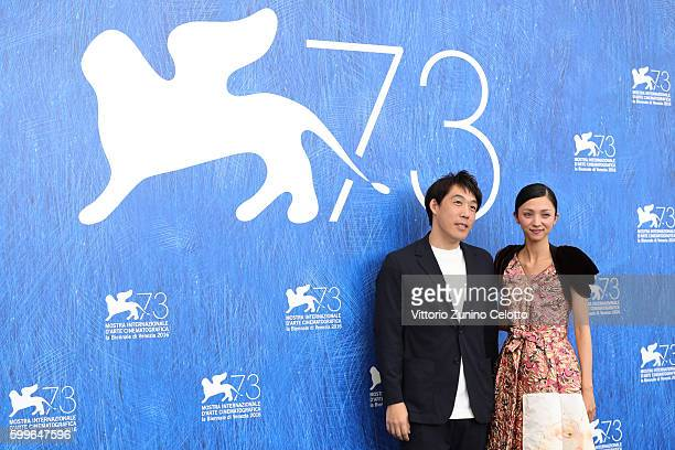 Director Kei Ishikawa and actress Hikari Mitsushima attend a photocall for 'Traces Of Sin' during the 73rd Venice Film Festival at on September 6...