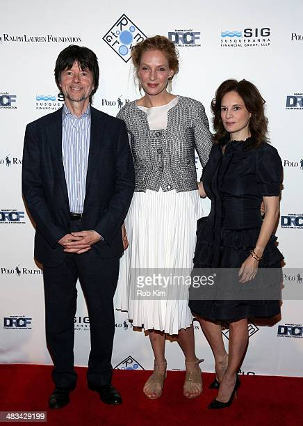 Director Ken Burns Actress Uma Thurman and wife Julie Deborah Brown attend the 2014 Room To Grow Gala at Capitale on April 8 2014 in New York City
