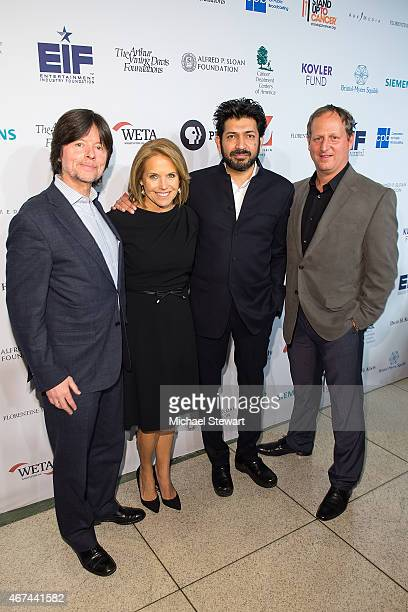 """Director Ken Burns, SU2C Co-Founder Katie Couric, Dr. Siddhartha Mukkerjee and director Barak Goodman attend the """"Cancer: The Emperor of All..."""