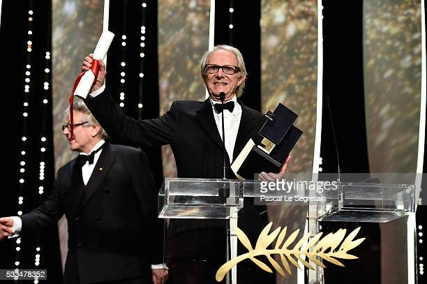 Director Ken Loach celebrates on stage after being awarded the Palme d'Or for the movie 'I Daniel Blake' during the closing ceremony of the annual...