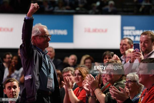 Director Ken Loach gestures to the hall as Shadow Chancellor of the Exchequer John McDonnell addresses delegates in the main hall on the second day...