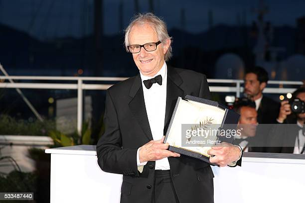 Director Ken Loach poses after being awarded the Palme d'Or for the movie 'I Daniel Blake' during the Palme D'Or Winner Photocall during the 69th...