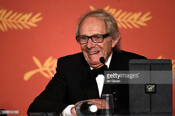 Director Ken Loach winner of The Palme d'Or for the movie 'IDaniel Blake' attends the Palme D'Or Winner Press Conference during the 69th annual...