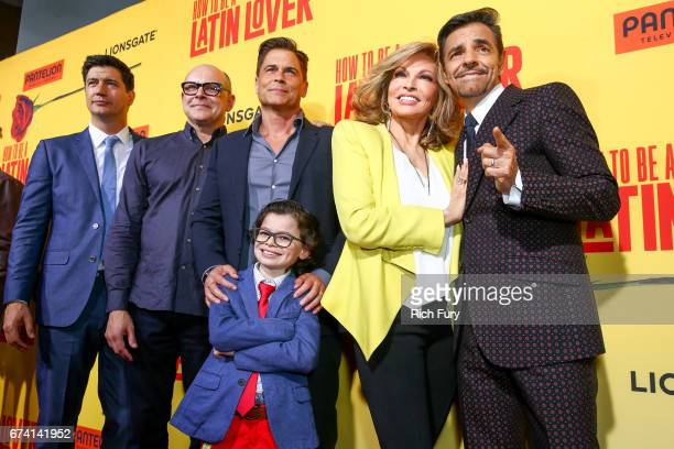 Director Ken Marino actors Rob Corddry Rob Lowe Raphael Alejandro Raquel Welch and Eugenio Derbez attend the premiere of How To Be A Latin Lover on...