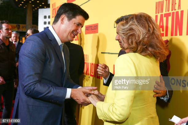 Director Ken Marino and actor Raquel Welch attend the premiere of How To Be A Latin Lover on April 26 2017 in Los Angeles California