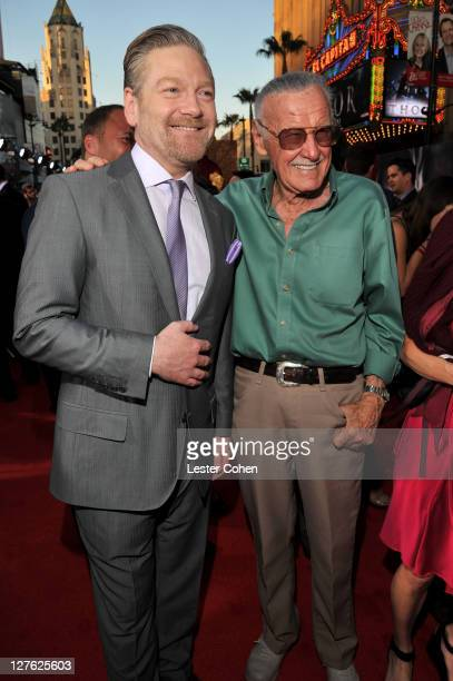 """Director Kenneth Branagh and author Stan Lee arrive at the Los Angeles premiere of """"Thor"""" at the El Capitan Theatre on May 2, 2011 in Hollywood,..."""