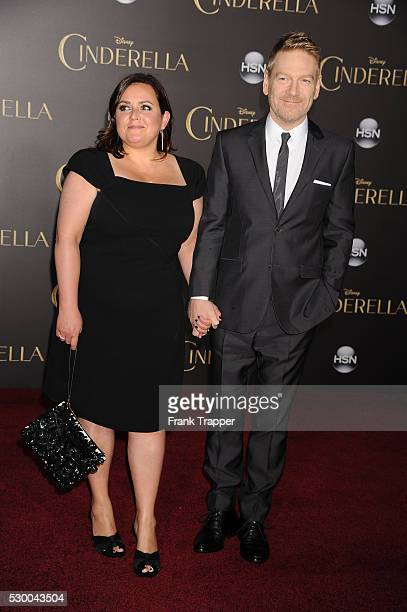"Director Kenneth Branagh and wife Lindsay Brunnock arrive at the premiere of ""Cinderella"" held at the El Capitan Theater in Hollywood."