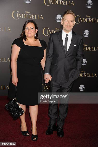 Director Kenneth Branagh and wife Lindsay Brunnock arrive at the premiere of Cinderella held at the El Capitan Theater in Hollywood