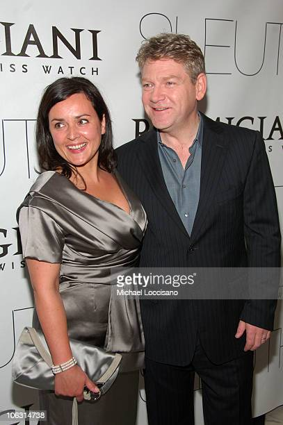 """Director Kenneth Branagh and wife Lindsay Brunnock arrive to the New York premiere of """"Sleuth"""" at the Paris Theater on October 2, 2007 in New York..."""