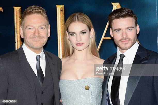Director Kenneth Branagh Lily James and Richard Madden attend the UK Premiere of 'Cinderella' at Odeon Leicester Square on March 19 2015 in London...