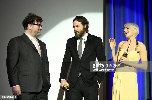 Director Kenneth Lonergan actor Casey Affleck and actress Michelle Williams speak onstage at the Cinema Vanguard Award during the 32nd Santa Barbara...