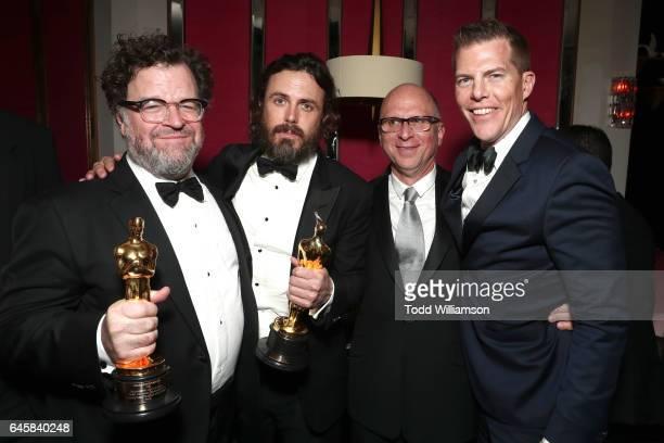 Director Kenneth Lonergan actor Casey Affleck producer Bob Berney and producer Kevin Walsh attend the Amazon Studios Oscar Celebration at Delilah on...