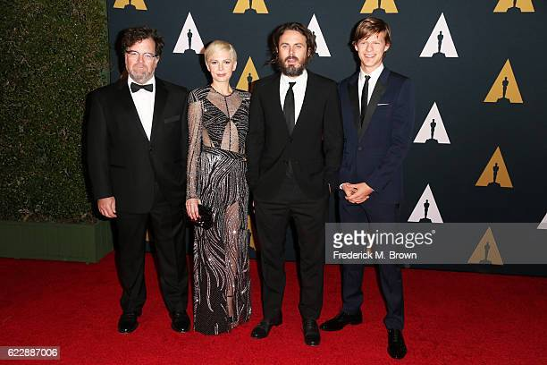Director Kenneth Lonergan actors Michelle Williams Casey Affleck and Lucas Hedges attend the Academy of Motion Picture Arts and Sciences' 8th annual...