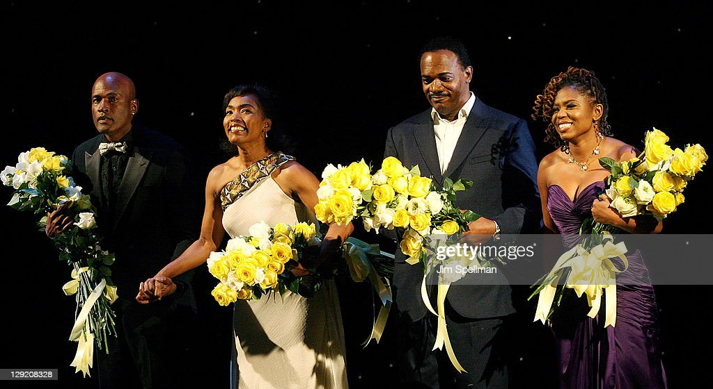 Director Kenny Leon, actors Angela Bassett, Samuel L. Jackson and playwright Katori Hall attend 'The Mountaintop' Broadway opening night at The Bernard B. Jacobs Theatre on October 13, 2011 in New York City.