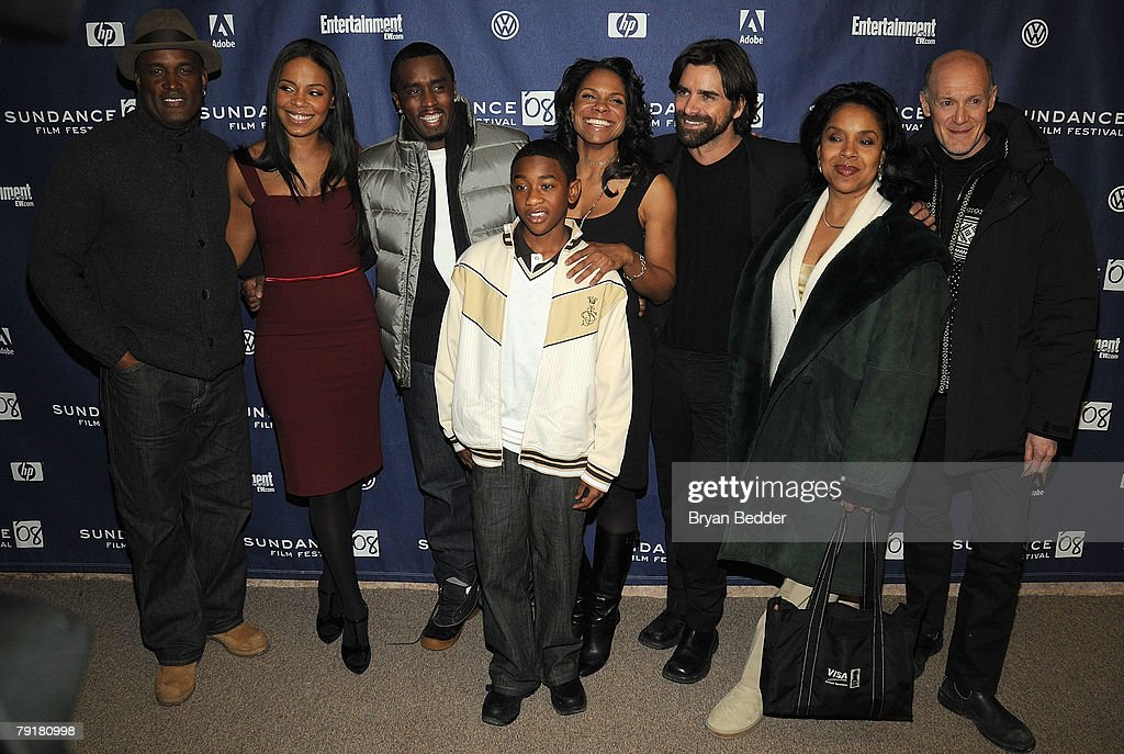 Director Kenny Leon, actors Sanaa Lathan, Sean 'P. Diddy' Combs, Justin Martin, Audra McDonald, John Stamos, Phylicia Rashad, and producer Neil Meron arrive at the premiere of 'A Raisin in the Sun' held at the Eccles Theatre during the 2008 Sundance Film Festival on January 23, 2008 in Park City, Utah.