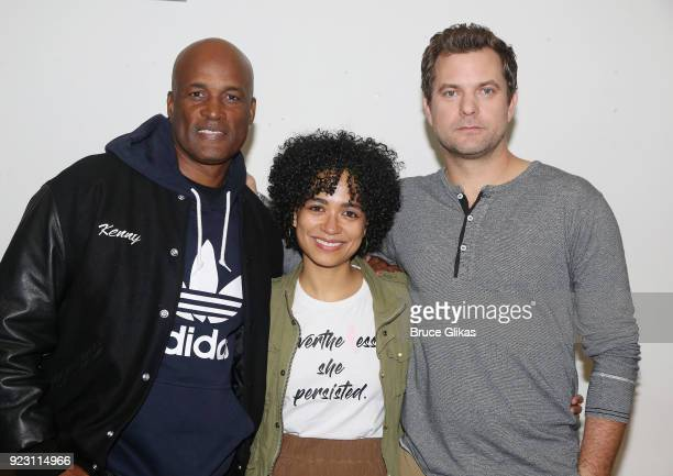 Director Kenny Leon Lauren Ridloff and Joshua Jackson pose at broadway's upcoming revival of 'Children Of A Lesser God' first rehearsal at The...