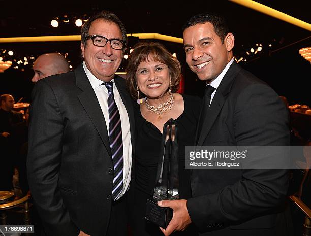 Director Kenny Ortega Imagen Foundation President Founder Helen Hernandez and actor Jon Huertas attend the 28th Annual Imagen Awards at The Beverly...