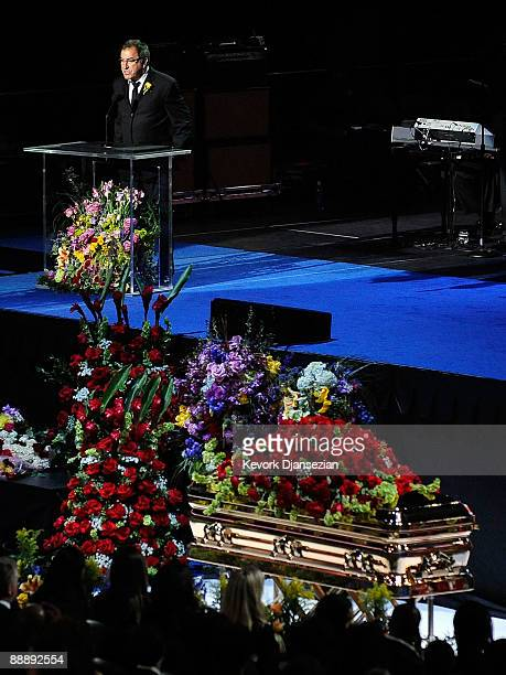 Director Kenny Ortega speaks at the Michael Jackson public memorial service held at Staples Center on July 7 2009 in Los Angeles California Jackson...