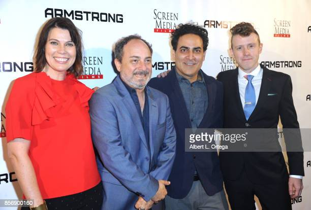 Director Kerry Carlock actors Kevin Pollak Jason Antoon and director Nick LundUlrich arrive for the premiere of Screen Media Films' 'Armstrong' held...