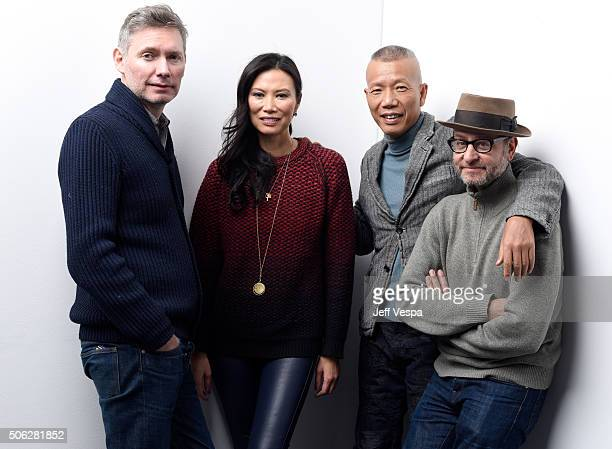 Director Kevin Macdonald producer Wendi Murdoch artist GuoQiang Cai and producer Fisher Stevens from the film Sky Ladder The Art of Cai GuoQiang pose...