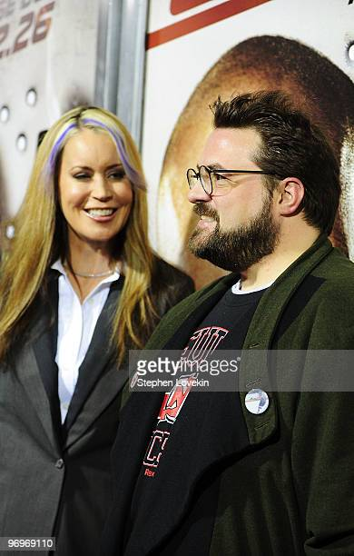 Director Kevin Smith and wife Jennifer Schwalbach attend the premiere of Cop Out at AMC Loews Lincoln Square 13 on February 22 2010 in New York City