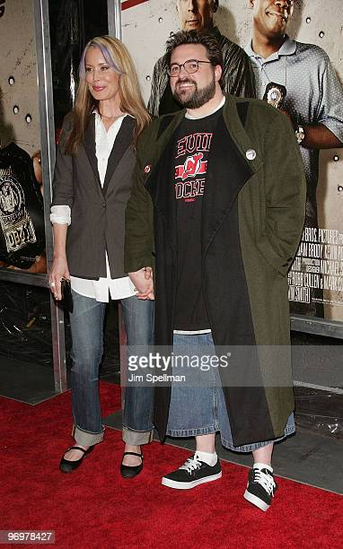 Director Kevin Smith and wife Jennifer Schwalbach attends the premiere of Cop Out at AMC Loews Lincoln Square 13 on February 22 2010 in New York City