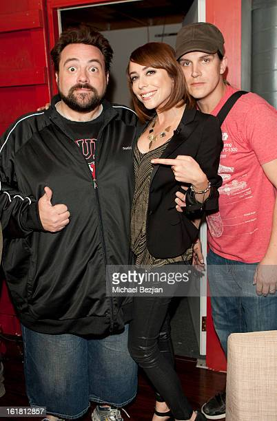 Director Kevin Smith, TV personality Shira Lazar and Jason Mewes attend The Future Of Online Television at What's Trending Studios on February 15,...
