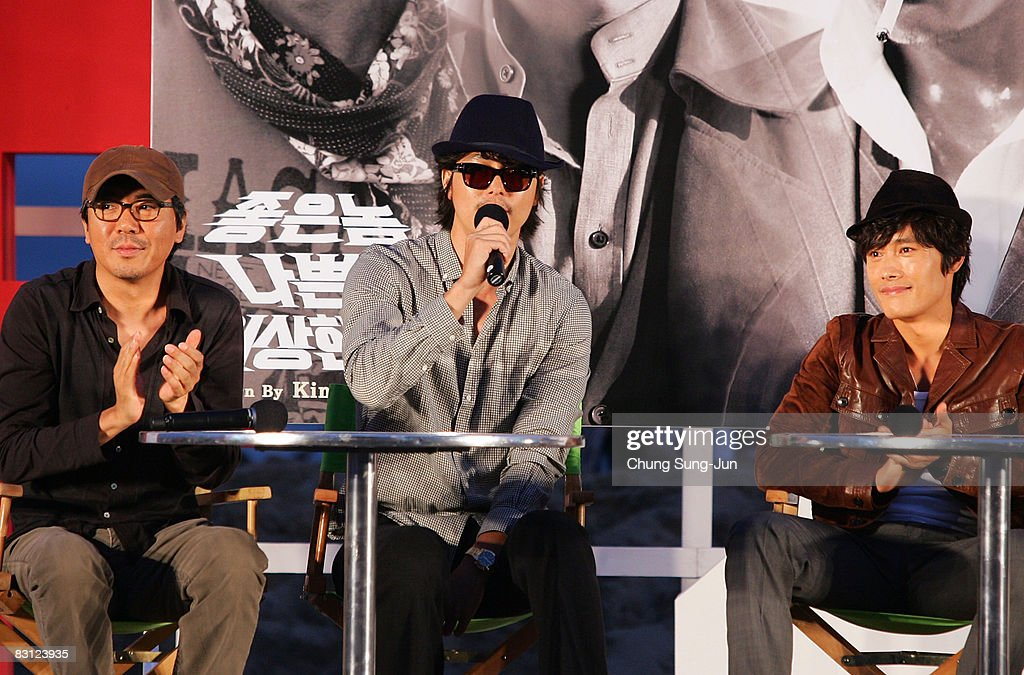Director Kim Jae-Woon, actor Jung Woo-Sung and Lee Byung-Hun attend their Open Talk of 'The Good The Bad The Weird' at the 13th Pusan International Film Festival on October 4, 2008 in Busan, South Korea. The biggest film festival in Asia showcases 315 films from 60 countries.
