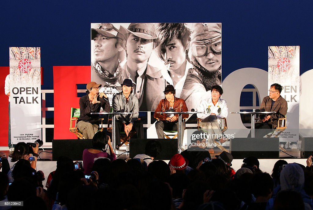 Director Kim Jae-Woon, actor Jung Woo-Sung, Lee Byung-Hun and Song Kang-Ho attend their Open Talk of 'The Good The Bad The Weird' at the 13th Pusan International Film Festival on October 4, 2008 in Busan, South Korea. The biggest film festival in Asia showcases 315 films from 60 countries.