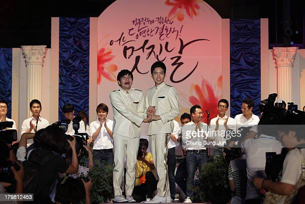 Director Kim Jho KwangSoo and Kim SeungHwan celebrate during their wedding as the first samesex couple to get married in South Korea at the...