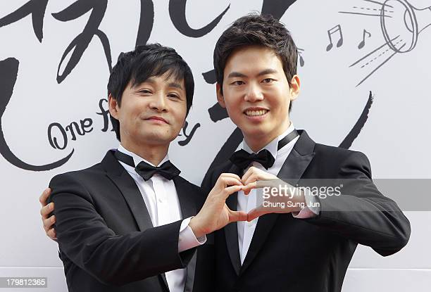 Director Kim Jho KwangSoo and Kim SeungHwan pose before their their wedding as the first samesex couple to get married in South Korea at the...