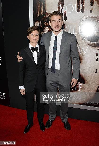 Director Kimberly Peirce and actor Alex Russell arrive at the premiere of MetroGoldwynMayer Pictures Screen Gems' Carrie at ArcLight Cinemas on...