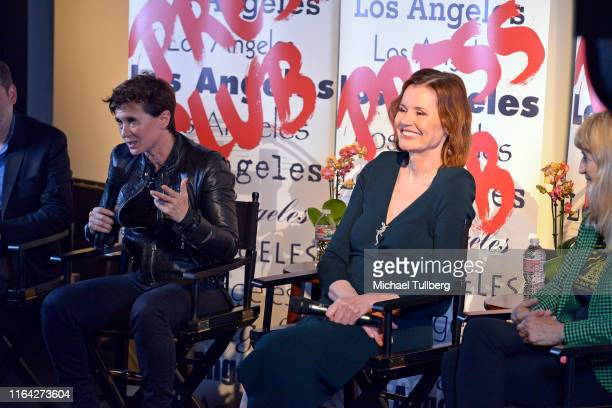 """Director Kimberly Peirce and executive producer Geena Davis, speak at a Q&A session at a screening of Donahue's documentary """"This Changes Everything""""..."""