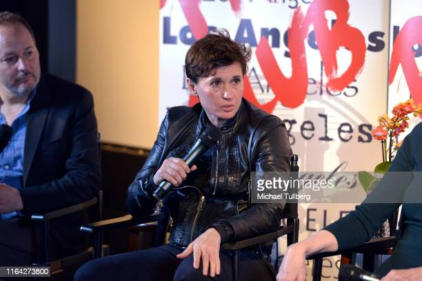 """Director Kimberly Peirce speaks at a Q&A session at a screening of Donahue's documentary """"This Changes Everything"""" on July 25, 2019 in Los Angeles,..."""