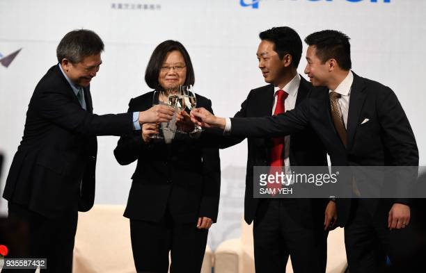Director Kin Moy of the American Institute in Taiwan Taiwanese President Tsai Ingwen AmCham Taipei Chairman Albert Chang and Alex Wong US Deputy...