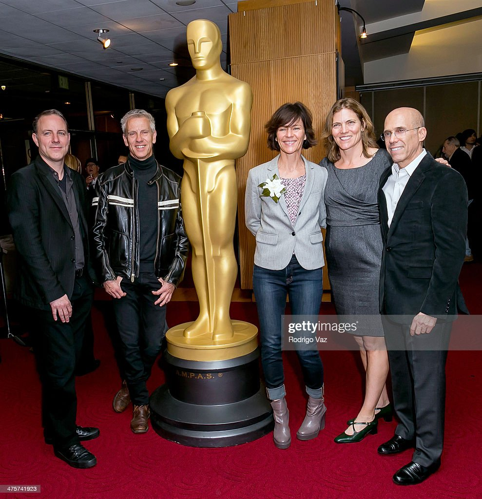 Director Kirk DeMicco, animator Chris Sanders and producers Kristine Belson, Jane Hartwell and Jeffrey Katzenberg attend the 86th Annual Academy Awards Oscar Week Celebrates Animated Features at AMPAS Samuel Goldwyn Theater on February 28, 2014 in Beverly Hills, California.