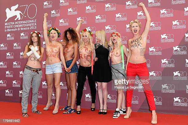 Director Kitty Green with Femen activists Inna Shevchenko and Sasha Shevchenko attend 'Ukraine Is Not A Brothel' Photocall during the 70th Venice...