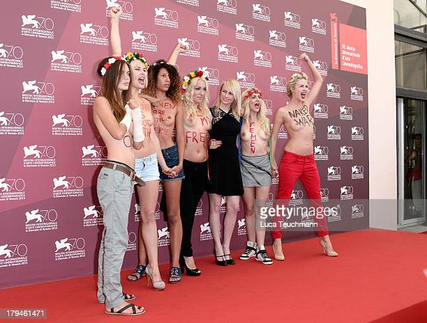 Director Kitty Green with Femen activists Inna Shevchenko and Sasha Shevchenko attends Ukraine Is Not A Brothel Photocall during the 70th Venice...