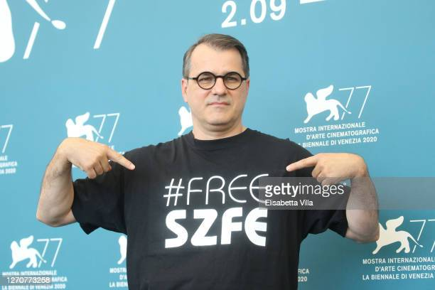 Director Kornel Mundruczo wears a tshirt in sign of protest against the governmental control of the University of Theatre and Film Arts of Budapest...