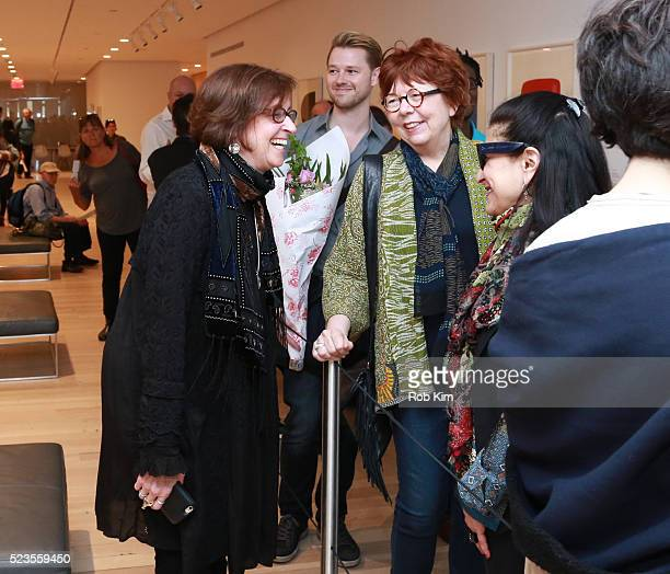 """Director Kristi Zea talks with guests attending the premiere of """"Everybody Knows... Elizabeth Murray"""" during the 2016 Tribeca Film Festival at..."""