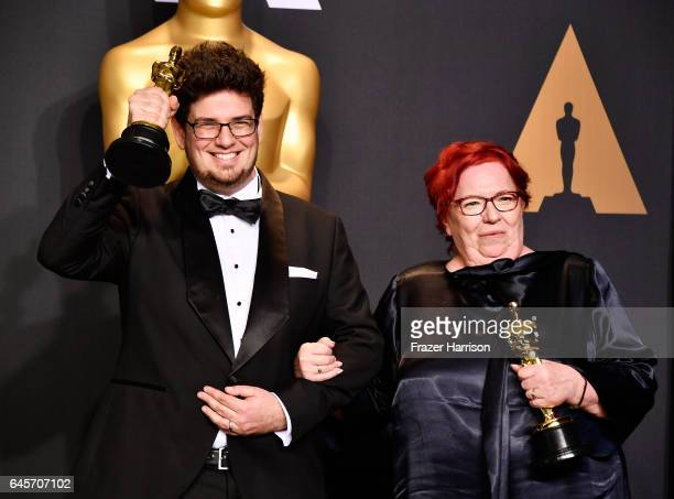 Director Kristof Deak and producer Anna Udvardy, winners of Best Live Action Short Film for 'Sing' pose in the press room during the 89th Annual...