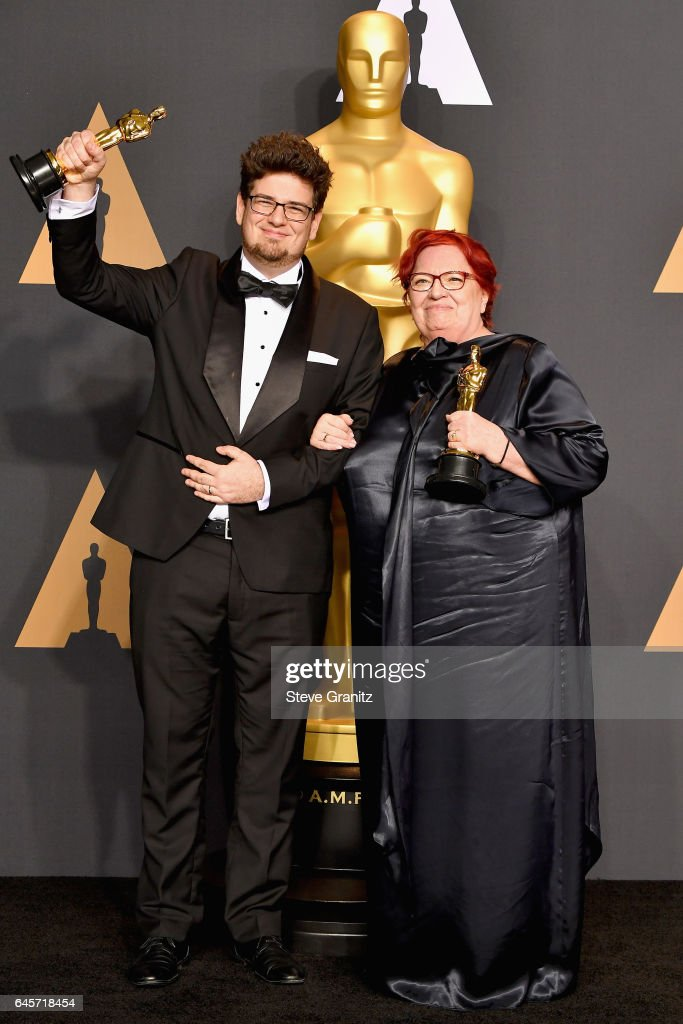 Director Kristof Deak (L) and producer Anna Udvardy, winners of the award for Short Film (Live Action) for 'Sing,' pose in the press room during the 89th Annual Academy Awards at Hollywood & Highland Center on February 26, 2017 in Hollywood, California.