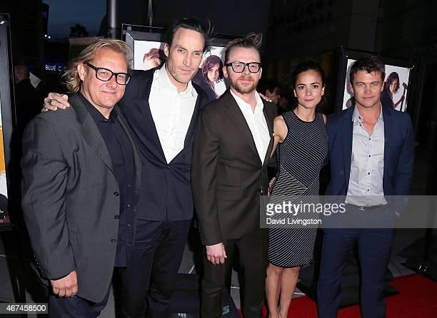 Director Kriv Stenders and actors Callan Mulvey Simon Pegg Alice Braga and Luke Hemsworth attend the premiere of Magnolia Pictures' Kill Me Three...